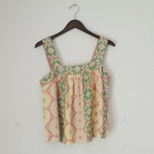 Anthropologie crop floral tank top size m